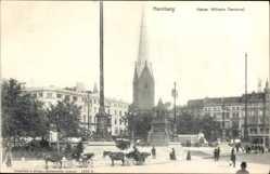 Postcard Hamburg Neustadt, Blick auf das Kaiser Wilhelm Denkmal, Kutschen