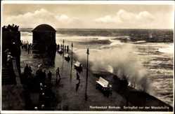 Postcard Insel Borkum im Kreis Leer, Springflut vor der Wandelhalle, Meer