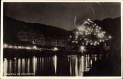Postcard Bad Ems im Rhein Lahn Kreis, Nachtansicht, Illumination, Hotel zum Löwen