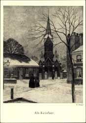 Künstler Ak Wenzel, K., Kevelaer am Niederrhein, Blick auf die Kirche