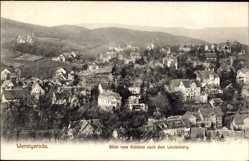 Postcard Wernigerode am Harz, Blick vom Schloss nach dem Lindenberg und auf Ort