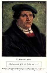 Künstler Ak Bauer, Reformator Martin Luther, Und wenn die Welt voll Teufel wär