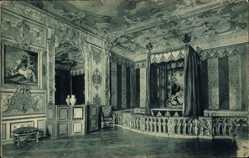 Postcard Oberschleißheim in Oberbayern, Schloss, Gemäldegalerie, Schlafzimmer Karl VII