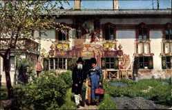 Ak Oberammergau in Oberbayern, Alte Volkstracht, Pilatushaus