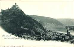 Postcard Braubach im Rhein Lahn Kreis, Totalansicht mit der Marksburg