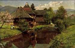 Künstler Ak Hoffmann, H., Schönau Schwarzwald, Altes Haus an der Wiese