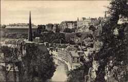 Postcard Luxemburg, Chemin de la corniche, L'Église St. Jean, Église des Bénédictins