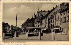 Postcard Maribor Marburg Drau Slowenien, Adolf Hitler Platz, Brunnen und Geschäften