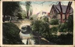 Postcard Coesfeld im Münsterland, Partie an der Promenade, Brücke, Fluss
