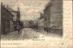 Postcard Bendorf in Rheinland Pfalz, Hotel Rheinischer Hof, Straßenpartie