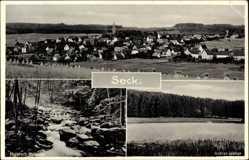 Postcard Seck im Westerwald, Weiher, Heuhaufen, Holzbach Schlucht, Totale