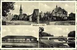 Postcard Mesum Rheine in Nordrhein Westfalen, Kirche, Marienschule, Krankenhaus