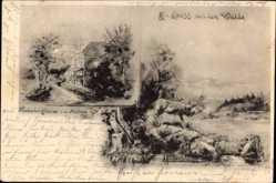 Künstler Ak Hildebrand, A., Niederbergheim Warstein Kreis Soest, Hirsch, Haus
