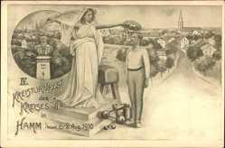 Künstler Ak Hamm in Westfalen, IV. Kreisturnfest, 06 August 1910, Turner, Ort