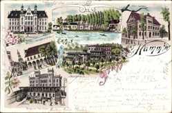 Litho Hamm in Westfalen, Hotel Feldhaus, Bahnhof, Ratskeller, Oberlandesgericht