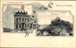 Postcard Virneburg Rheinland Pfalz, Hotel Restaurant, Burg