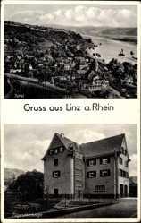 Postcard Linz am Rhein im Kreis Neuwied, Totalansicht und Jugendherberge