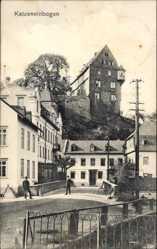 Postcard Katzenelnbogen im Rhein Lahn Kreis, Straßenpartie mit Wohnhäusern, Zaun