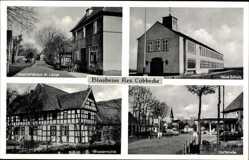 Postcard Blasheim Lübbecke in Ostwestfalen, Neue Schule, Wassermühle, Geschäft Lange
