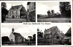 Postcard Metternich Koblenz in Rheinland Pfalz, Gasthaus Zum Schrumpftal, Schule