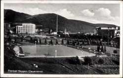 Postcard Meggen Lennestadt im Sauerland im Kreis Olpe, Blick auf das Freibad