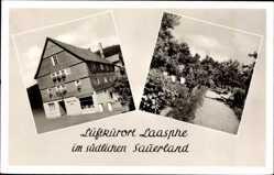 Postcard Bad Laasphe im Kreis Siegen Wittgenstein, Hotel Zum Hirsch, Vorderansicht