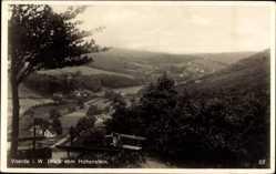 Postcard Voerde am Niederrhein, Blick vom Hohenstein, Bank, Tal, Wald