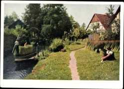 Postcard Leipe Lübbenau im Spreewald, Spreewaldkahn, Kanal, Fachwerkhaus