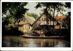 Postcard Leipe Lübbenau im Spreewald, Altes Gehöft, Spreewaldkahn, Kanal