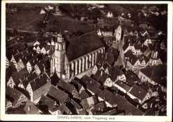Postcard Dinkelsbühl im Kreis Ansbach Mittelfranken, Fliegeraufnahme, Kirche, Ort