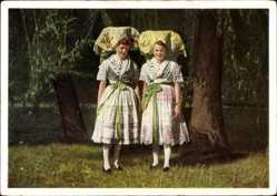 Ak Spreewälderinnen in heimatlicher Tracht, Spreewald