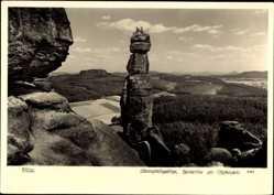 Ak Elbsandsteingebirge, Barbarine am Pfaffenstein, Felsen, Hahn 8163