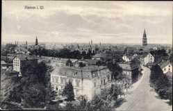 Postcard Hamm in Westfalen, Vogelschau auf die Stadt, Gebäude, Kirchturm