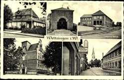 Postcard Wettringen im Münsterland, Ev. Kirche, Ludgerus Schule, Krankenhaus, Drogerie