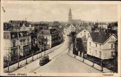 Postcard Hamm in Westfalen, Totalansicht, Platz, Straßenbahn, Kirche