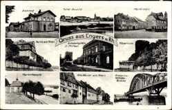 Postcard Engers Neuwied Rhein, Bahnhof, Brücke, Kapelle, Turm