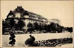 Postcard Wanne Eickel Herne, Partie am Bahnhof, Park, Blumenbeete