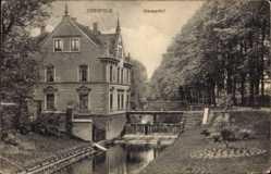 Postcard Coesfeld im Münsterland, Wasseerfall, Flusspartie, Gebäude, Treppe