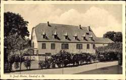 Postcard Zündorf Köln am Rhein, Blick auf das St. Josef Kloster, Straßenpartie