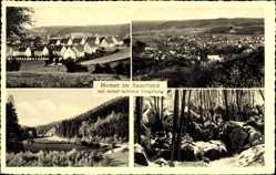 Postcard Hemer im Sauerland, Blick auf den Ort, Steine, Wald, Felder