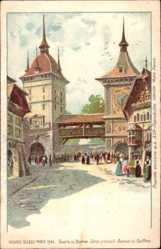 Lithographie Paris, Expo, Weltausstellung 1900, Village Suisse, Tours de Berne