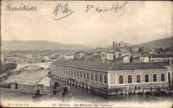 Postcard Genève Genf Stadt, Le Bâtiment des Turbines, Wasserkraftwerk