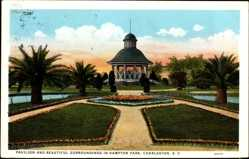 Postcard Charleston South Carolina USA, Pavilion and Surroundings in Hampton Park