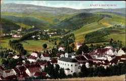 Postcard Duszniki Zdrój Bad Reinerz Schlesien, Panorama der Stadt, Kirche