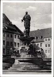Postcard Freiberg im Kreis Mittelsachsen, Denkmal Otto des Reichen auf dem Obermarkt