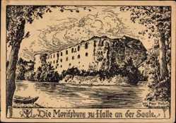 Künstler Ak Pabst, Paul, Halle an der Saale, Blick auf die Moritzburg, Fluss