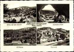 Postcard Muggendorf Wiesenttal im Kreis Forchheim, Bahnhof, Kurheim, Quakenschloss