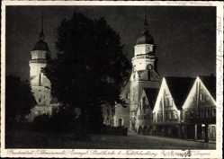 Postcard Freudenstadt im Nordschwarzwald, Evang. Stadtkirche bei Nachtbeleuchtung