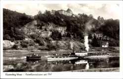 Postcard Fürstenberg an der Weser, Salondampfer Kaiser Wilhelm, Felsen