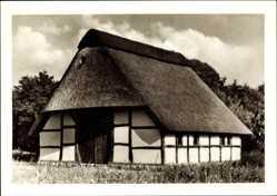 Postcard Cloppenburg in Niedersachsen, Heuerhaus im Museumsdorf, Reetdach